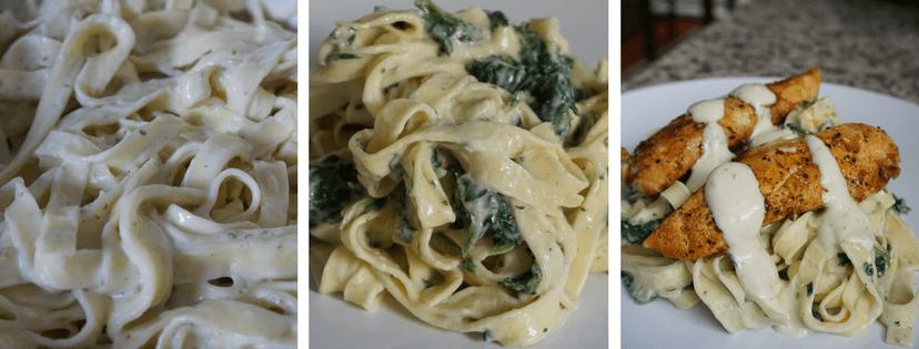 spinach basil alfredo pasta