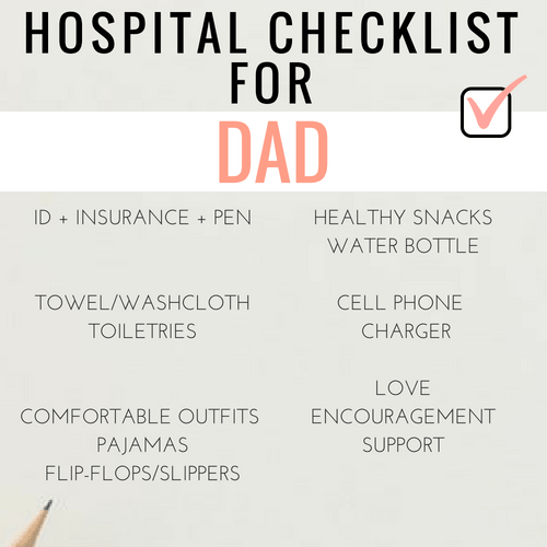hospital bag checklist for dads and/or partners