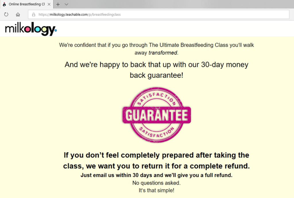 A screenshot of Milkology Ultimate Breastfeeding Class money back guarantee