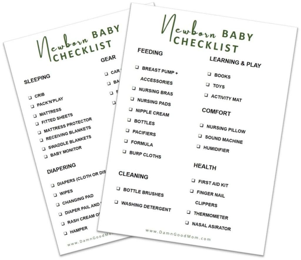 Newborn baby checklist of baby necessities