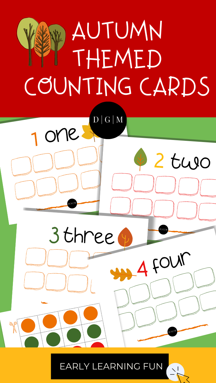 Autumn Preschool Counting Cards