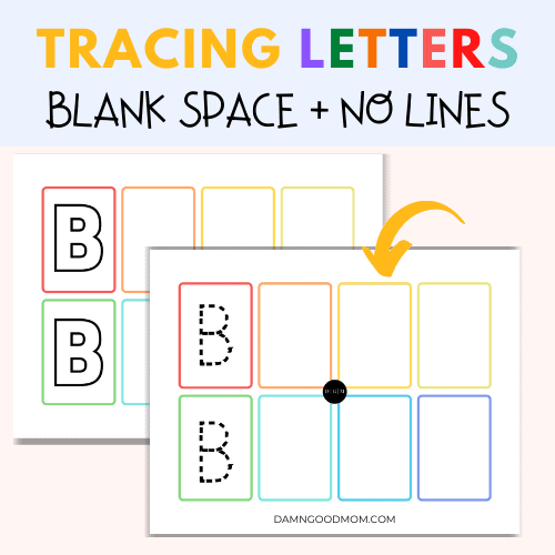Tracing letters worksheets with blank blocks and no restricting lines.