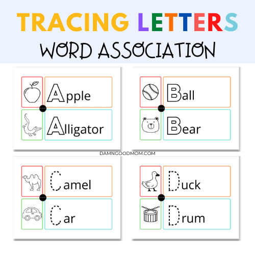 Tracing letters word association picture worksheets