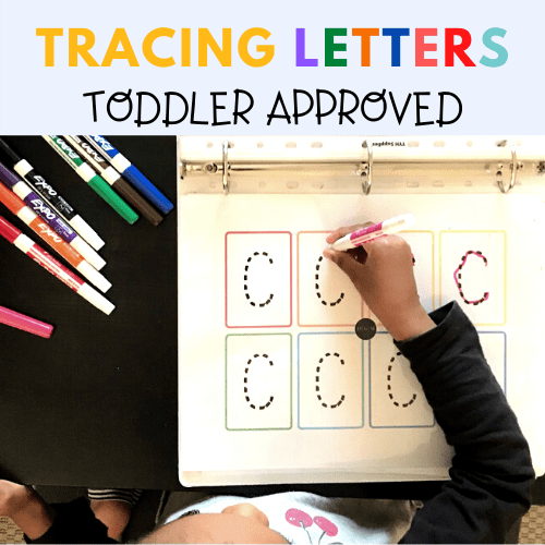 My toddler using the letter tracing worksheets