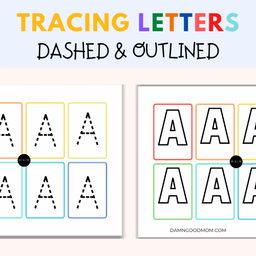 Tracing letters with dashed lines and outlined letters